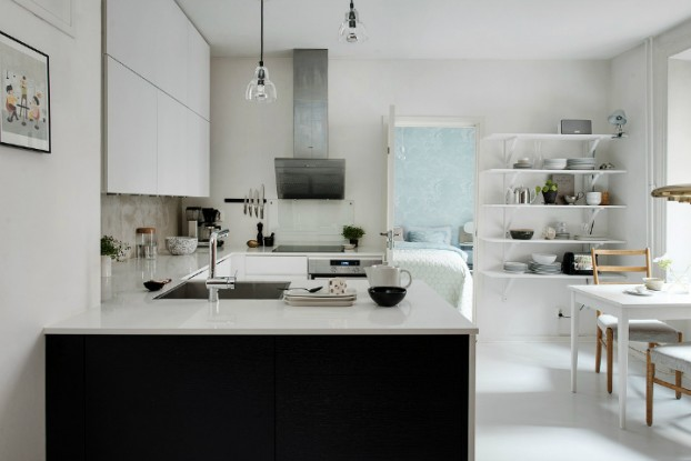 Scandinavian home interior with High-Gloss Finish
