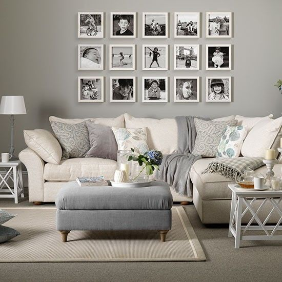 gray and white living room with family photo frames on the wall 10 Ways To Add Character Your Living Room  Decoholic