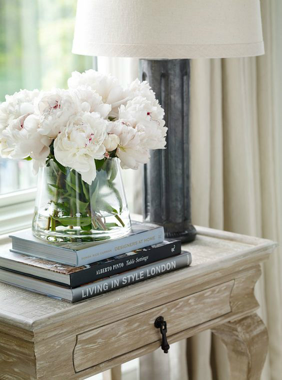 white peonies living room decor