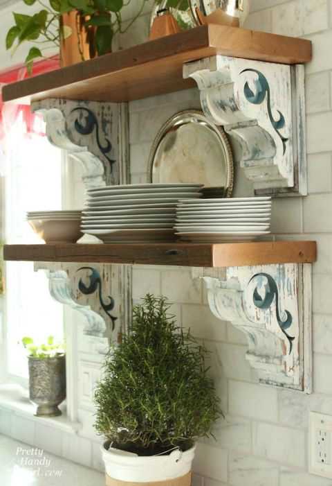 salvage trend kitchen shelves