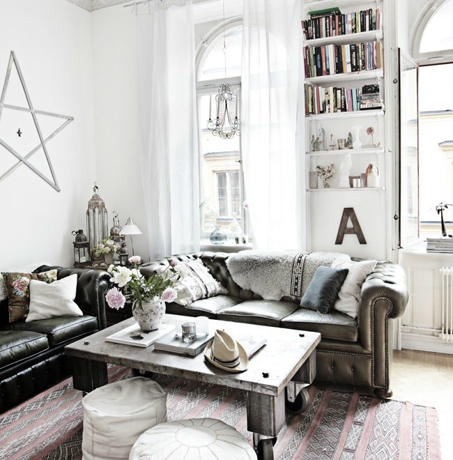 white bohemian living room