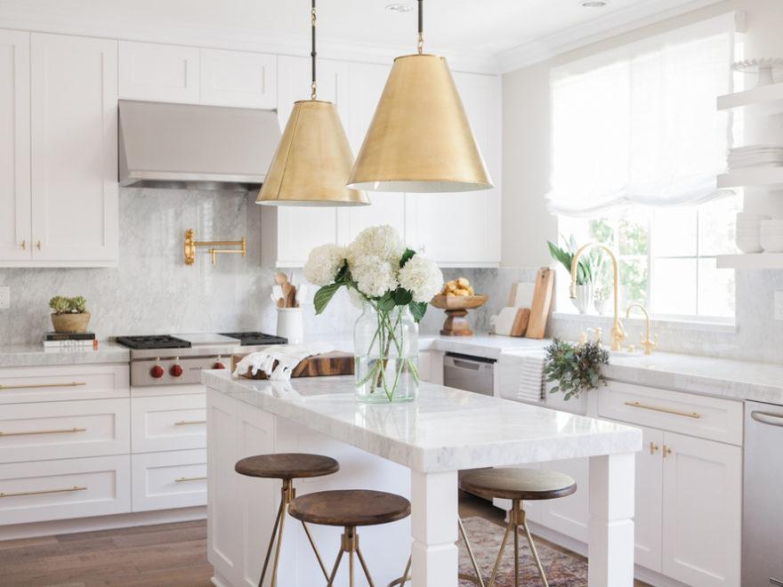 Chic White Kitchen with gold hardware 16