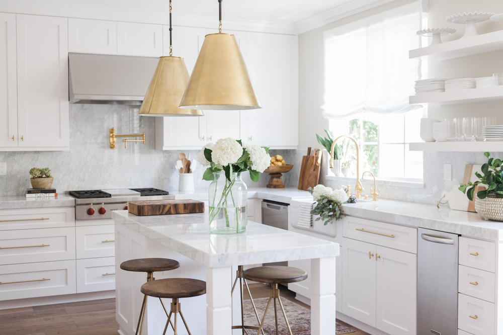 Chic White Kitchen with gold hardware 18