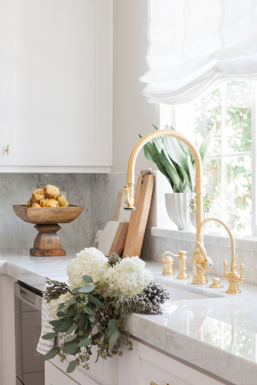 Chic White Kitchen with gold hardware 2