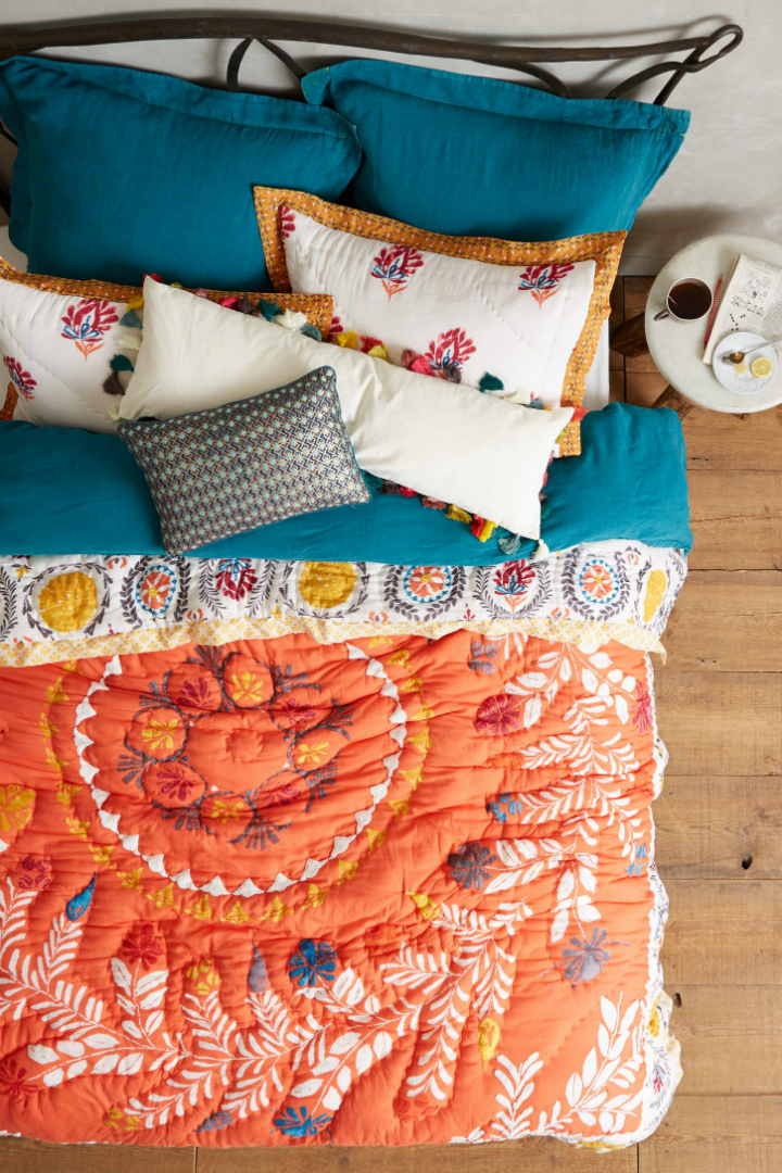 orange Embroidered quilt