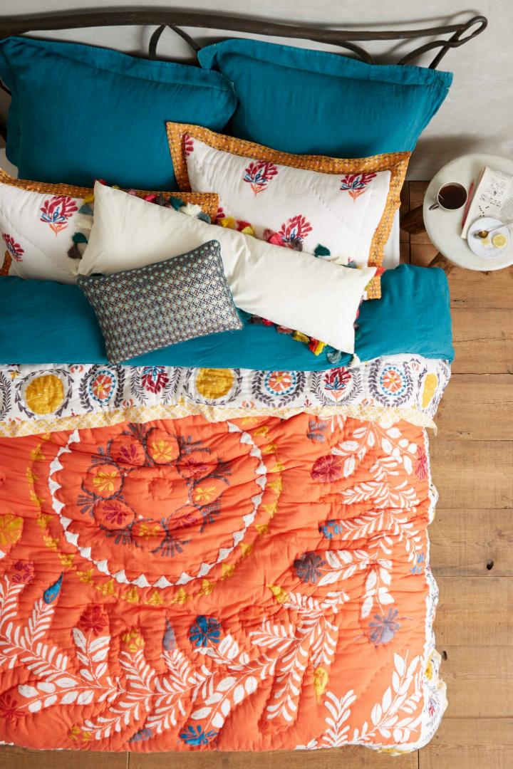 orange Embroidered quilt