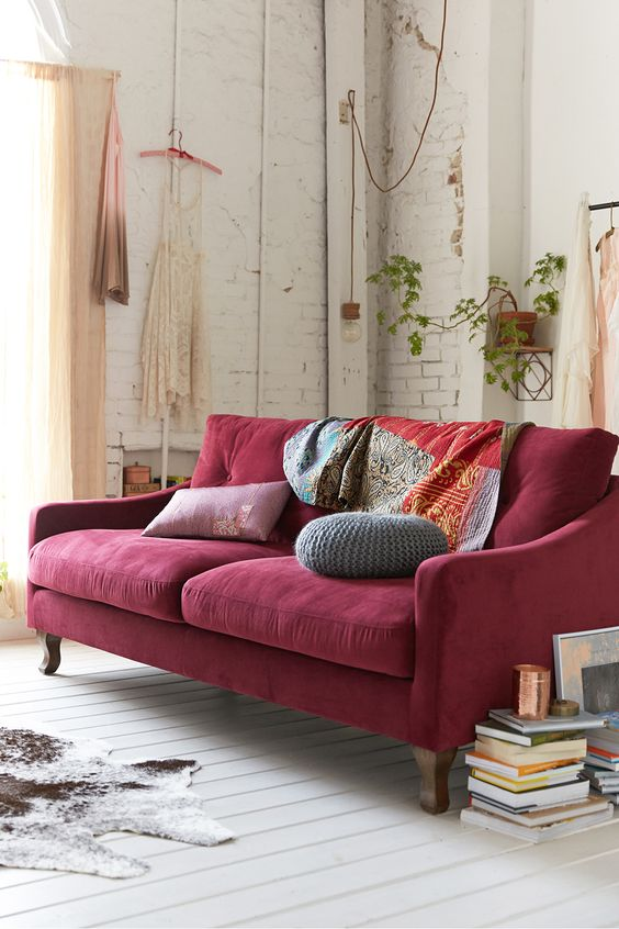 maroon red velvet sofa