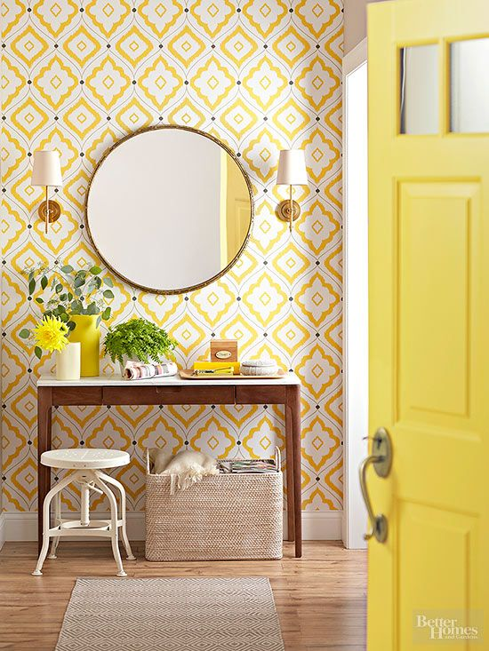 bright yellow home entry