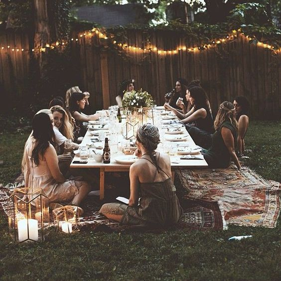 How to host the perfect bohemian chic outdoor dinner party Outdoor dinner table setting
