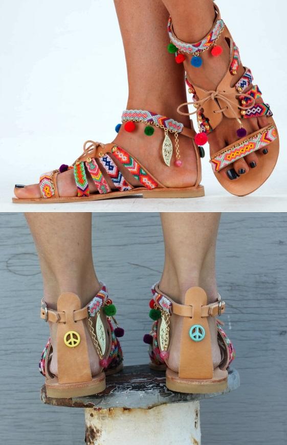 boho chic greek leather sandals with pom poms 2