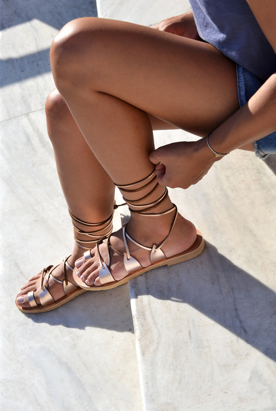 rose gold leather lace up sandals