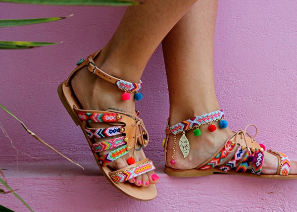 boho chic greek leather sandals with pom poms