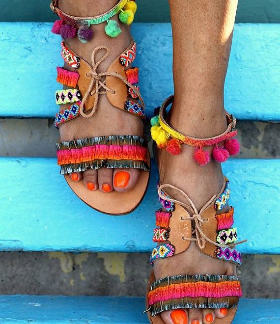 bohemian chic leather sandal with multicolor woven straps