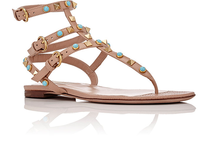 Valentino beige grained leather Rockstud gladiator sandals embellished with turquoise cabochons and the house's goldtone signature pyramid studs