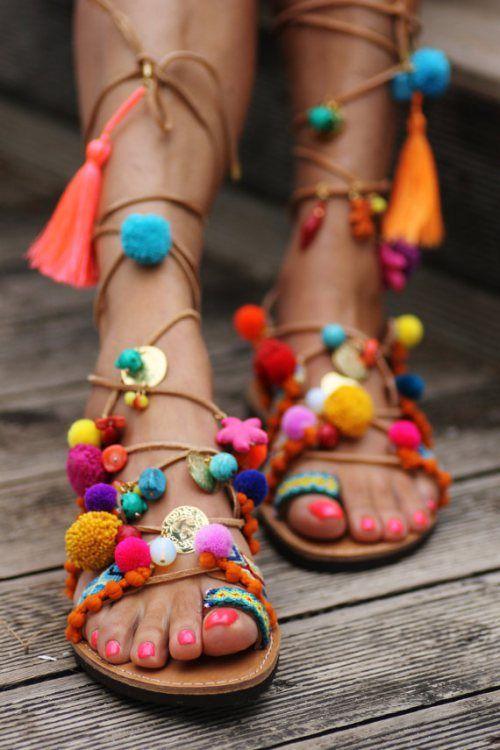 Penny Lane Pompom Gladiator Sandal