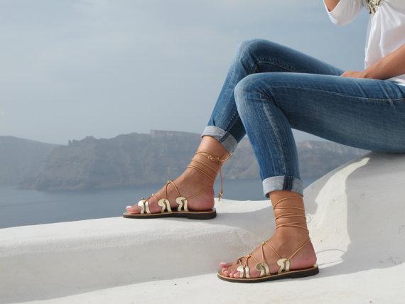 Gold Lace up Greek Sandals,