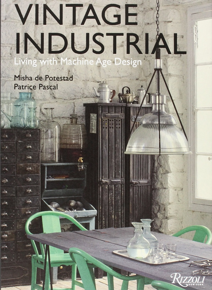 industrial vintage dining room with green chairs