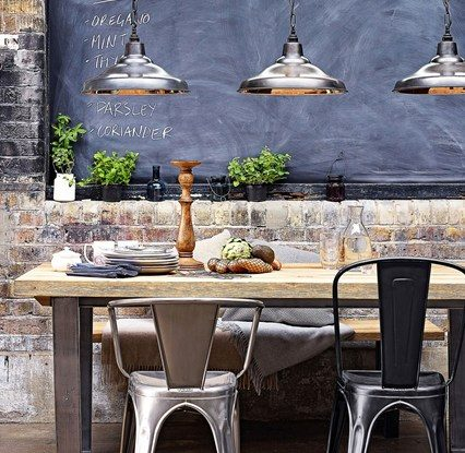 rustic industrial style dining room
