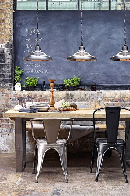 how to create an industrial dining room decoholic rh decoholic org rustic industrial dining room lighting rustic industrial dining room chairs