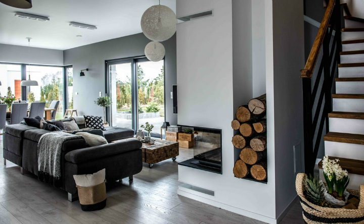 Nordic gray modern home interior design 25