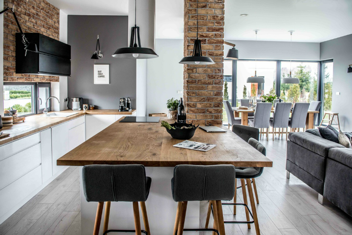 Nordic gray modern home interior design 26