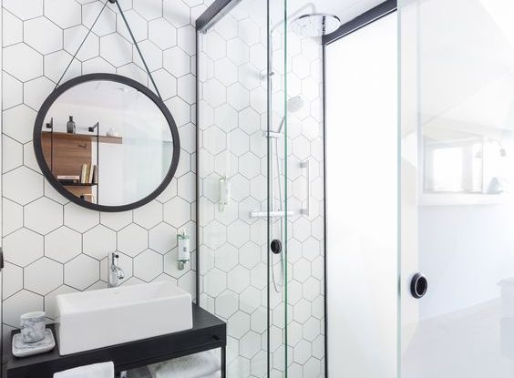 puro contemporary minimalist blac and white bathroom design exagon tiles
