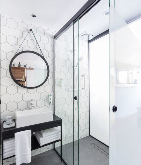 puro contemporary minimalist blac and white bathroom design exagon tiles