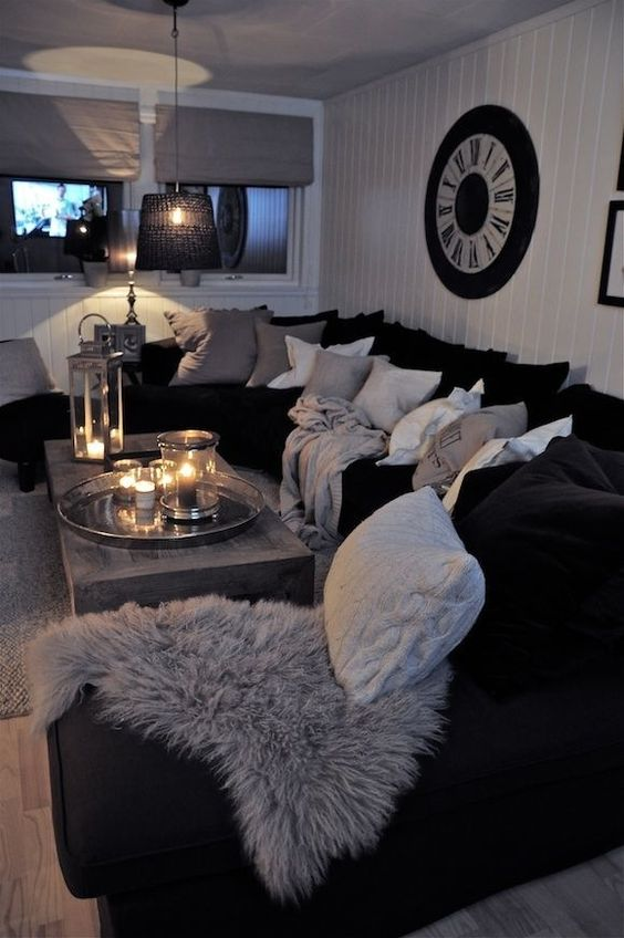 48 black and white living room ideas decoholic for Black couch living room