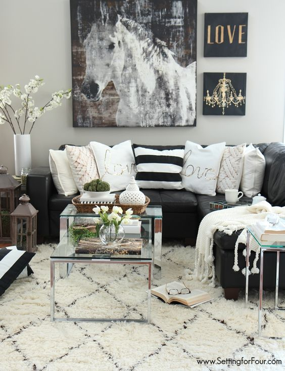 48 black and white living room ideas decoholic for Black white and blue living room ideas