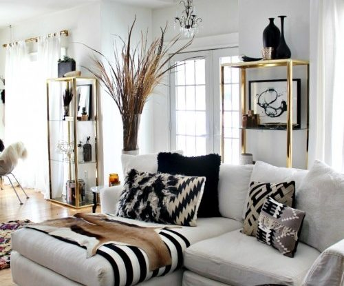 Living room archives decoholic - Black and gold living room curtains ...