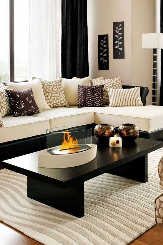 Drawing Room Ideas Designs Part - 34: Black And White Living Room Idea 6