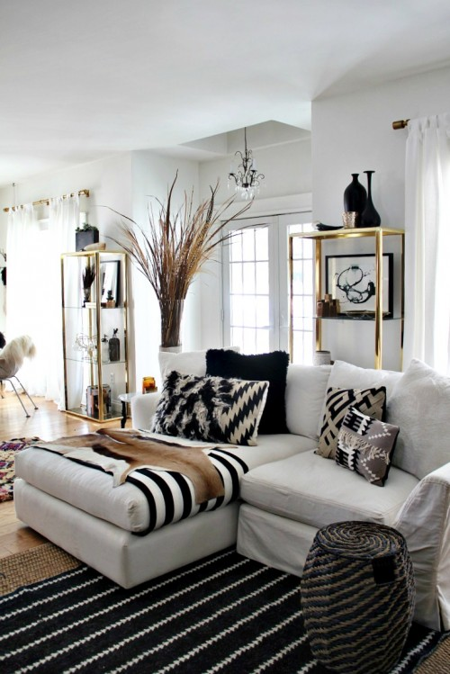 black white and gold living room idea - Black And White Living Room Decor