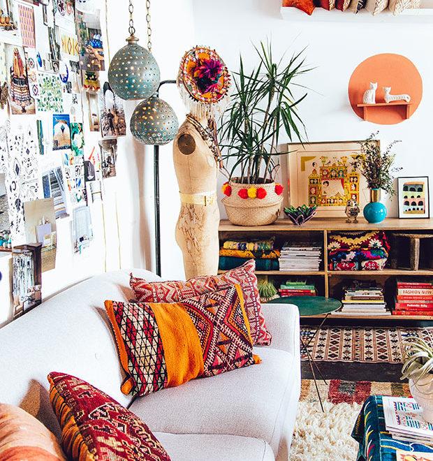 bohemian living room decor idea