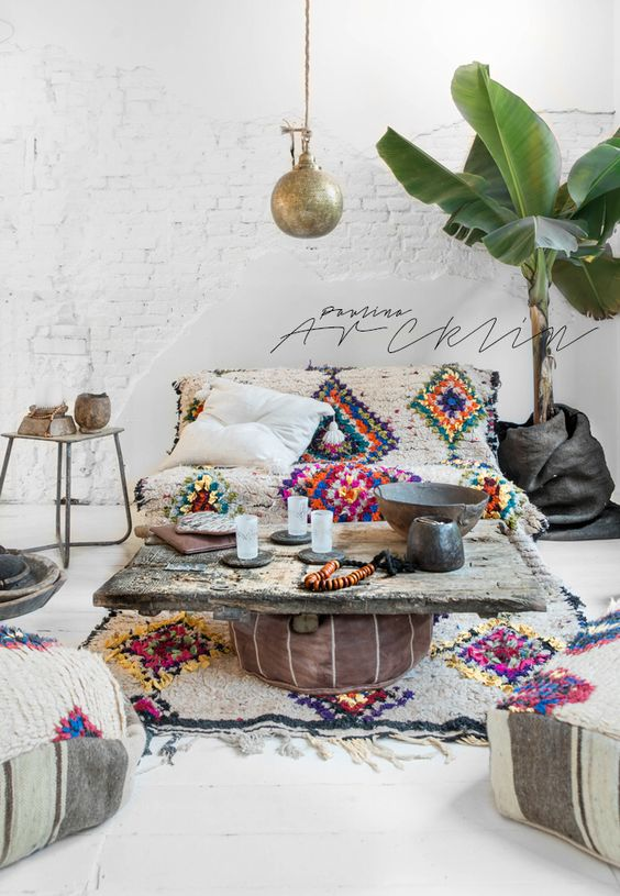 bohemian living room decorating idea 15