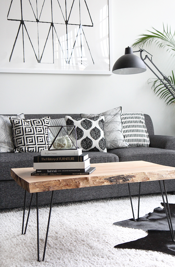 gray black and white living room idea