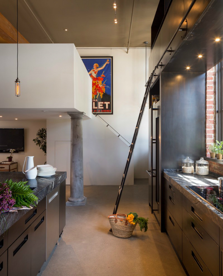 gorgeous functional kitchen with ladder 5