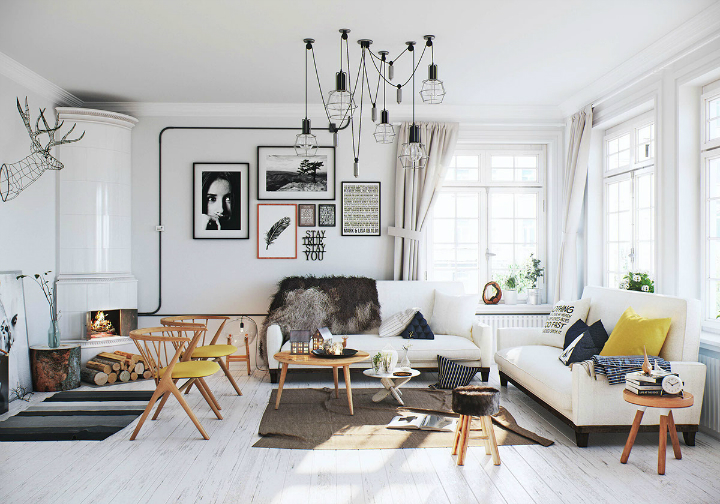 Scandinavian Apartment Interior Design By Image Box Studio. A White Finish  On An Authentic Wooden Floor Has ...