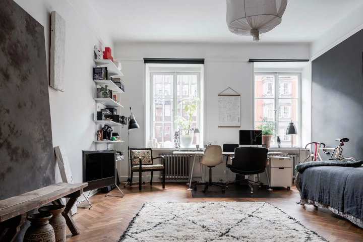 sophisticates eclectic Scandinavian apartment interior design 16