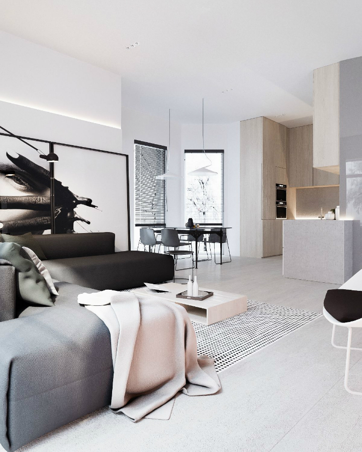 Minimalist Black and White Interior