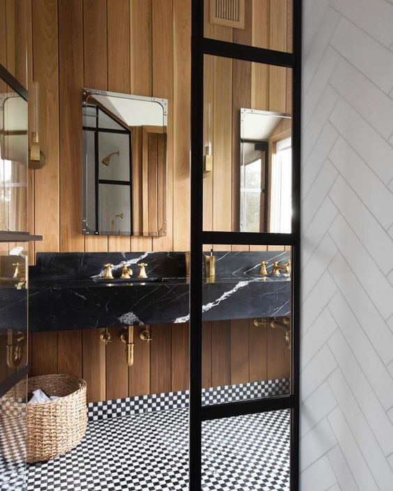 wood black and white bathroom with black marble basin