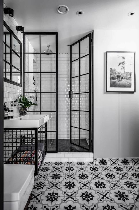 black and white bathroom with retro tiles