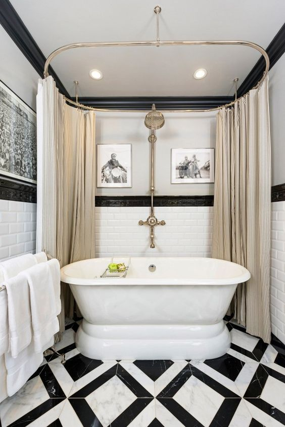 Image: Christopher Stark · Black And White Bathroom 14 Design