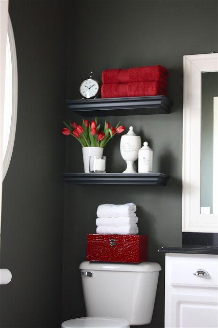 red details in bathroom