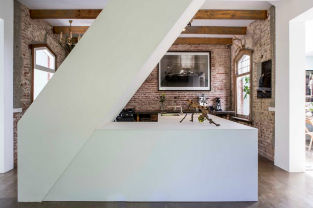 Exposed Brick Walls In A Modernized Interior by zw6