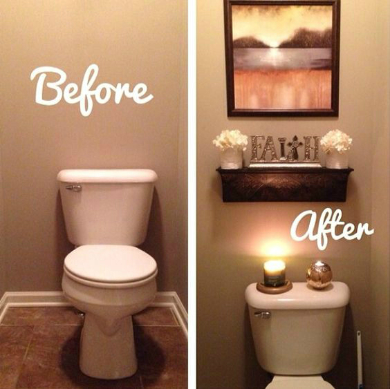 11 easy ways to make your rental bathroom look stylish for Restroom decoration pictures