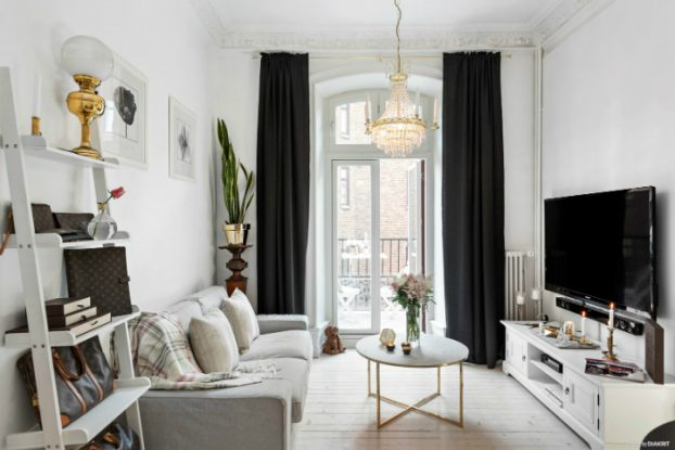 black and white small apartment decoration