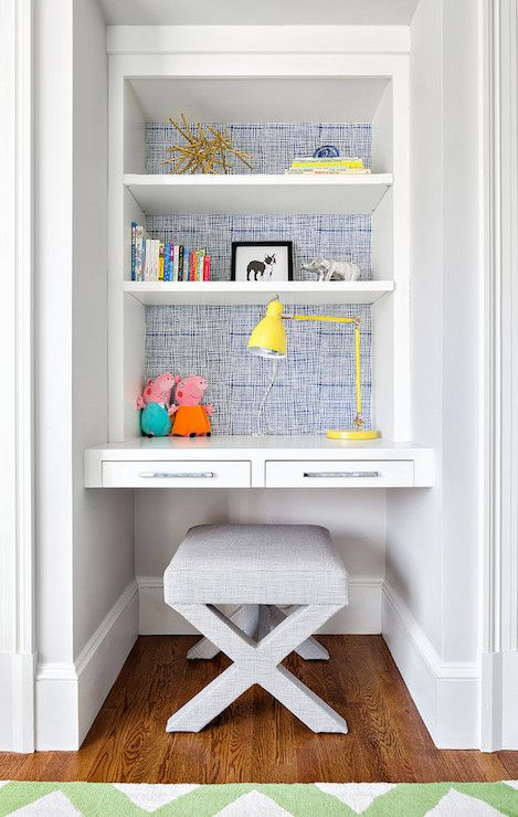 alcovekids desk with bright wallpaper