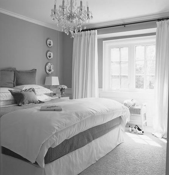 white and gray bedroom walls