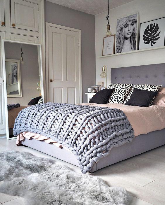 grey bedroom idea with rug