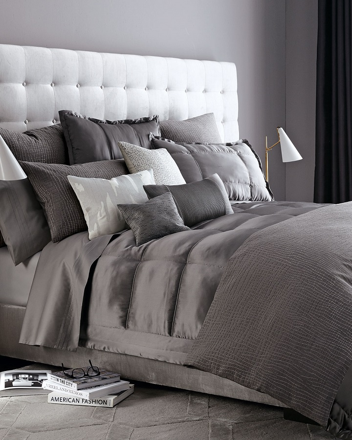 shades of gray used in a bedroom